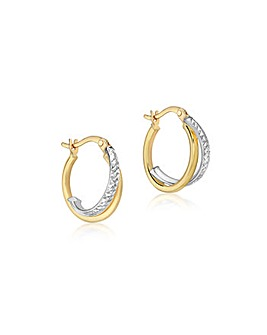 9 Carat 2-Tone Gold Crossover Earrings