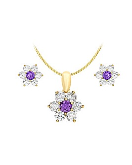 9 Carat Gold Flower Pendant Earring Set