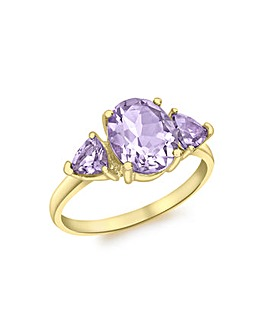 9 Carat Yellow Gold Oval Amethyst Ring