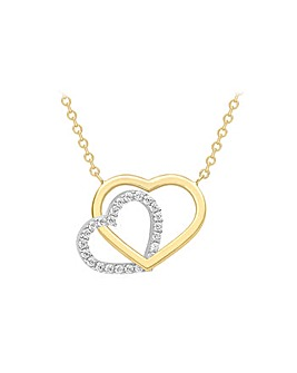 9 Carat 2-Tone Gold Heart Necklace