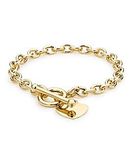 9 Carat Gold Heart Tag T-Bar Bracelet