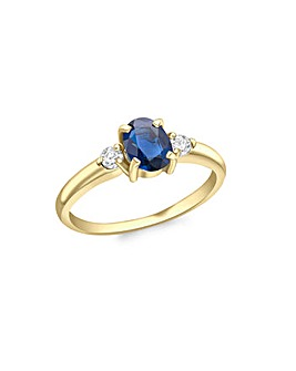 9 Carat Gold Diamond and Sapphire Ring
