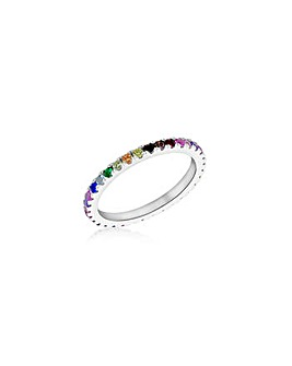 Sterling Silver Colourful CZ Band Ring