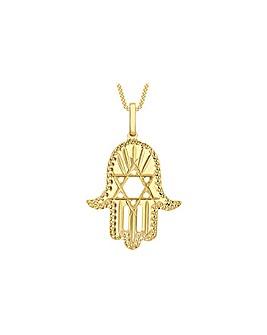 9 Carat Gold Hamsa David Star Pendant