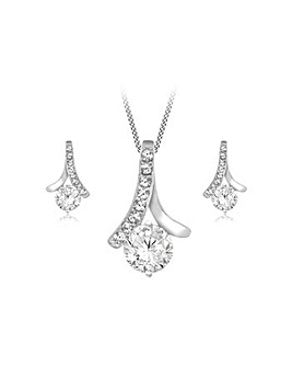 Sterling Silver CZ Pendant Earring Set