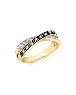 9 Carat Gold Brown White Diamond Ring