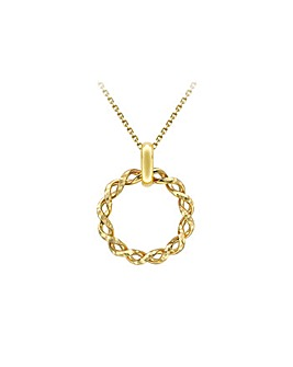 9 Carat Gold Twist Circle Necklace