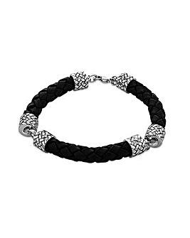 Sterling Silver Black Leather Bracelet