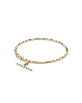 9 Carat Gold T-Bar Hollow Curb Bracelet
