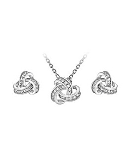 Sterling Silver Knot Pendant Earring Set