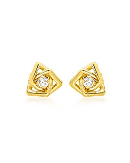 9Ct Gold Tripple Square Stud Earring