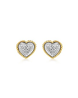 9Ct Gold Pave Diamond Heart Studs