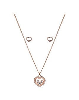 Lipsy Rose Gold Heart Shaker Necklace