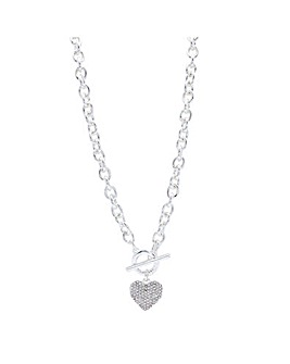 Crystal Heart T Bar Necklace