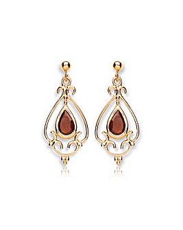 9Ct Gold Garnet Chandelier Drop Earrings