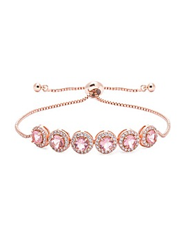Rose Gold Pink Pave Toggle Bracelet