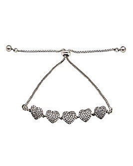 Rhodium Plated Cubic Zirconia Pave Heart Toggle Bracelet