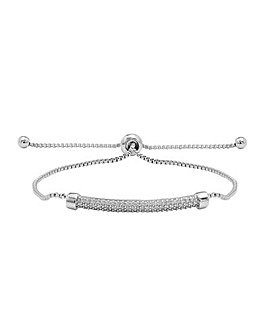 Rhodium Plated Pave Bar Toggle Bracelet