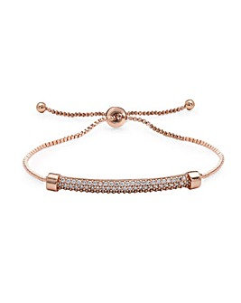 Rose Gold Plated Pave Bar Bracelet