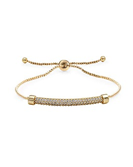 Gold Plated Pave Bar Toggle Bracelet