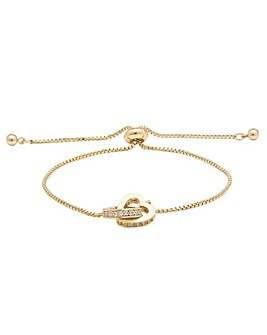 Gold Plated Interlink Heart  Bracelet