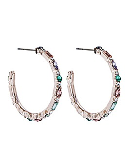 Lipsy Gold Crystal Mixed Stone Stone Set Large Hoop Earrings