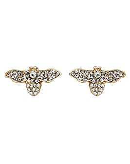 Gold Plated Crystal Bee Earrings