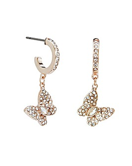 Lipsy Rose Gold Pink Crystal Besel Set Butterfly Earrings