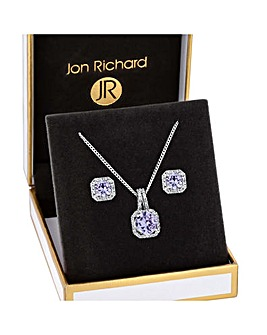Rhodium Plated Lavender Cubic Zirconia Sqaure Set - Gift Boxed