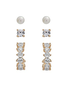 Gold Plated Cubic Zirconia Hoop And Pearl Earrings - Pack of 3