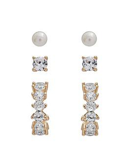 Gold Plated Hoop & Pearl Earrings 3Pck