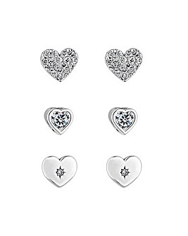 Rhodim Plated Heart Earrings - Pack of 3