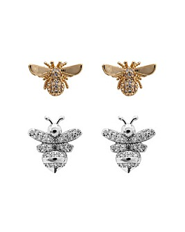 Mixed Plated Cubic Zirconia Bee Earrings - Pack of 2