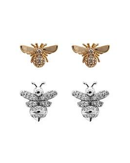Cubic Zirconia Bee Earrings - Pack of 2