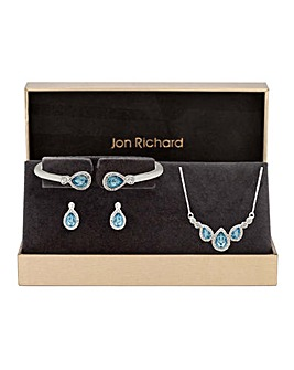 Silver Plated Aqua Triple Pear Set - Gift Boxed