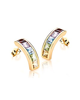 9Ct Gold 5 Colour Bar Stud Earring