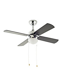 Home Ceiling Fan - Chrome & Black