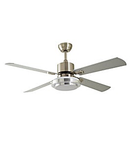 Home Satin Nickel Remote Control Ceiling Fan - Silver