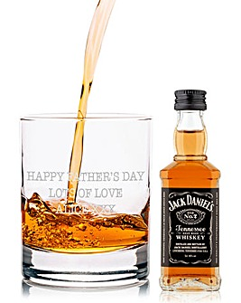 Personalised Jack Daniels Glass & Miniature Gift Set