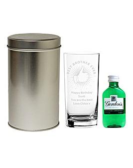 Personalised Gin Glass & Gordons Set