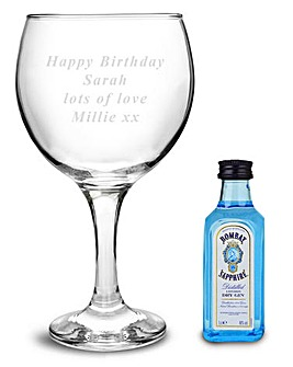 Personalised Gin Glass & Bombay Set