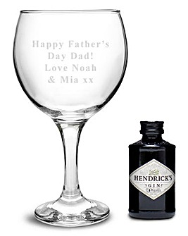 Personalised Gin Glass & Hendricks Set