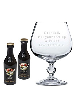 Personalised Baileys Glass & Miniatures
