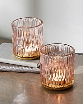 Set Of 2 Embossed Glass Tealight Holders