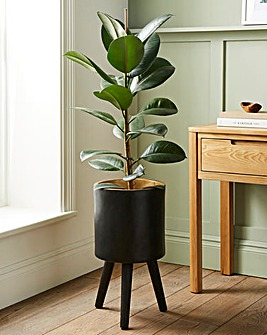 Darnell Planter Black With Black Beech Wood Legs
