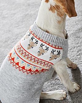 Novelty Reindeer Fairisle Dog Jumper