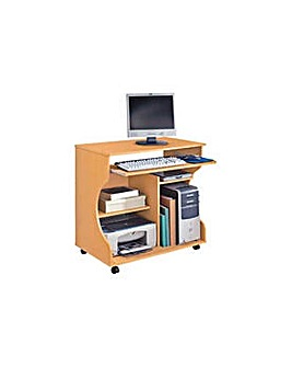 Curved Computer Desk Trolley - Beech