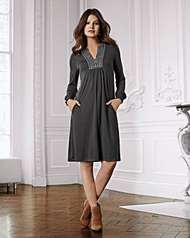 Together Embroidered Trim Jersey Dress