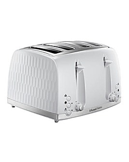 Russell Hobbs 26070 Textured Honeycomb White 4 Slice Toaster