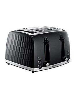 Russell Hobbs 26071 Textured Honeycomb Black 4 Slice Toaster